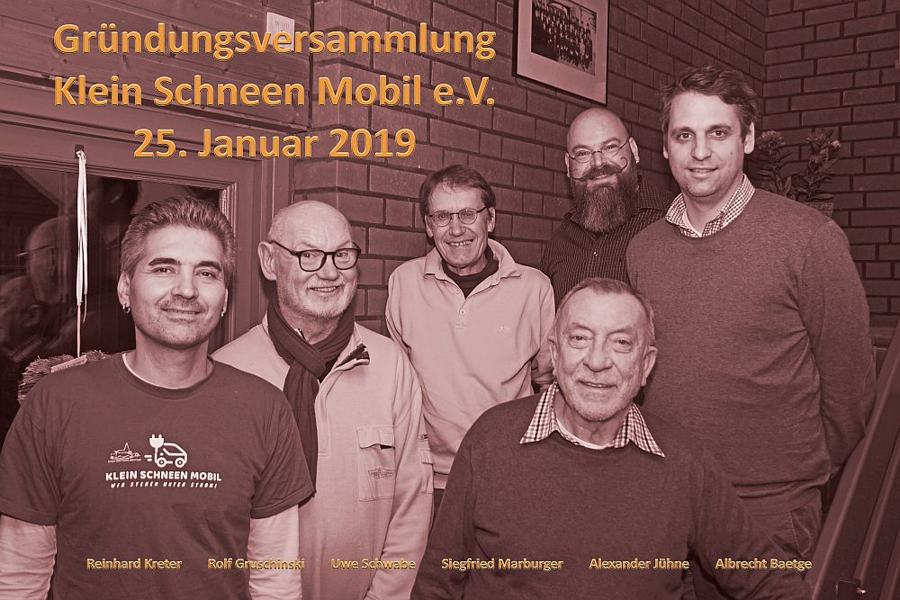 Gewählter Vorstand bei der Gründungsveranstaltung des Klein Schneen Mobil e.V. am 25. Januar 2019