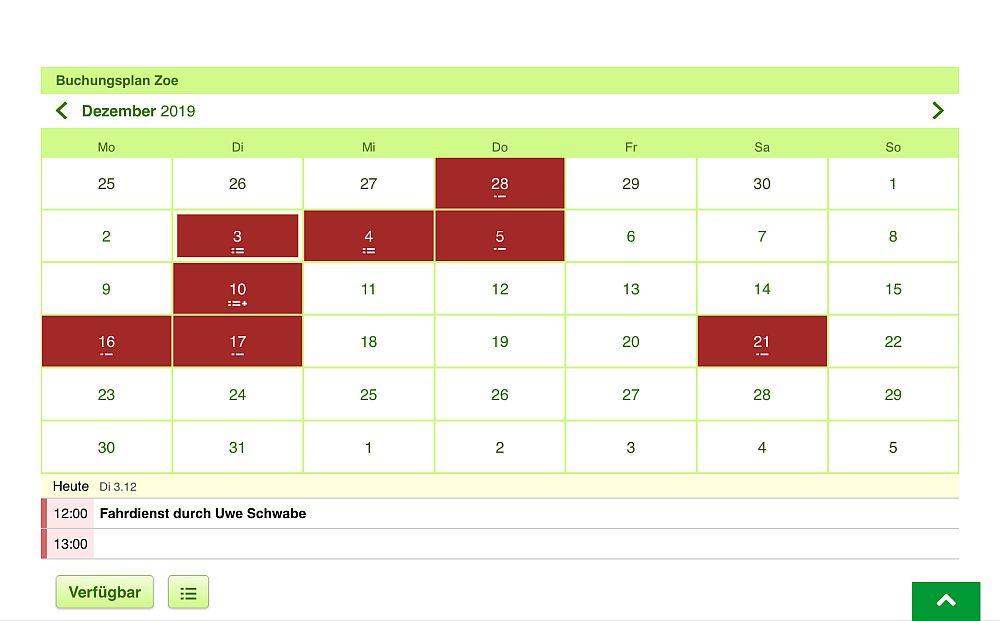 Screenshot der Online-Buchungsplattform für das E-Auto des Klein Schneen Mobil e.V.